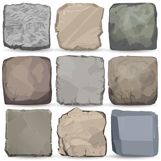 Rock stone cartoon banner set. square stone panel. big boulder flat style.
