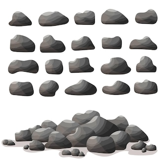 Rock stone cartoon in flat style. set of different boulders. natural stones pile.