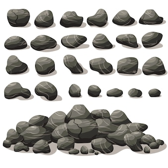 Rock stone cartoon in isometric. set of different boulders. natural stones pile.