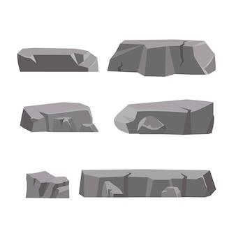 Камень рок установлен мультфильм. камни и скалы в изометрической 3d плоском стиле. набор различных валунов