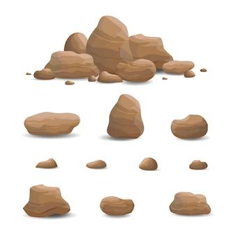 Rock stone set cartoon