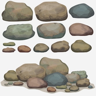 Rock stone set of different boulders