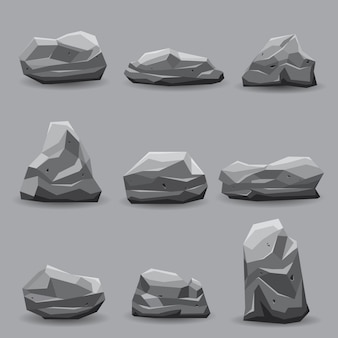 Rock stone set illustration collection.