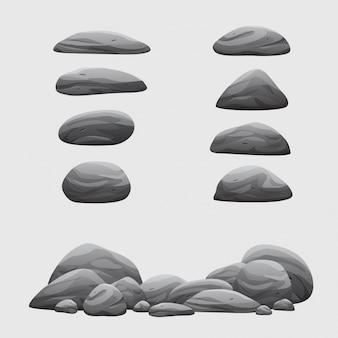 Rock stone set vector cartoon illustration collection