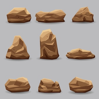 Rock stone set vector illustration collection