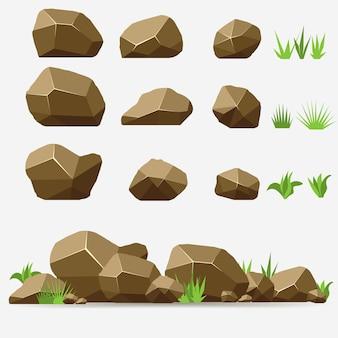 草入り岩石。茶色の石と等角投影の3dフラットスタイルの岩。異なる岩のセット