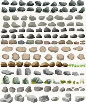 フラットスタイルの草の漫画で設定された岩石。