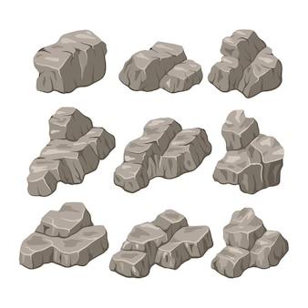 岩石ベクトルイラスト。岩と石のフラットスタイル。さまざまな岩のセット。さまざまな形の石畳。
