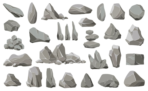 岩石と山の残骸。砂利、灰色の石、天然壁石。さまざまな形の石のコレクション。