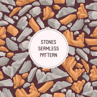 Rock stones cartoon flat seamless pattern. stones and rocks in isometric 3d style vector illustration. set of boulders of different shape and color.