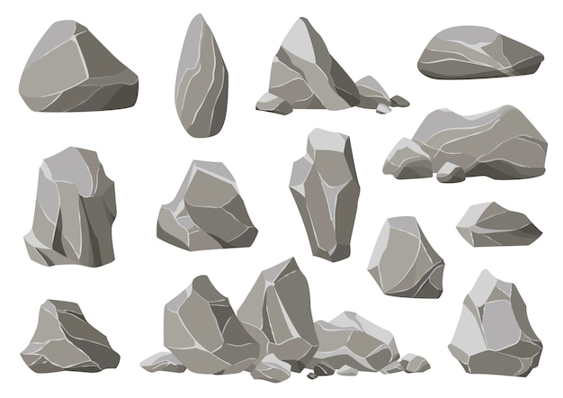 Rock stones and debris of the mountain. gravel, gray stone heap of cartoon isolated