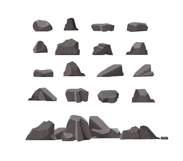 Rock stones flat icon set