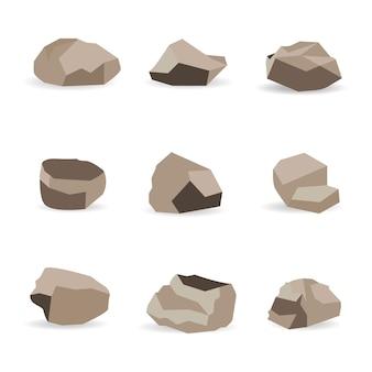 岩石。グラファイトストーン、石炭、岩が壁や山の小石に積み上げられます。砂利の小石、灰色の石のヒープ漫画分離アイコンイラストセット。