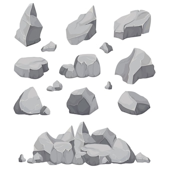 Rock stones. graphite stone, coal and rocks pile isolated