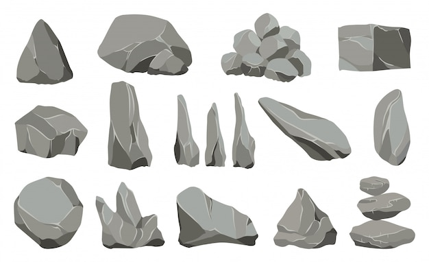Rock stones. graphite stone, coal and rocks pile for wall or mountain pebble.