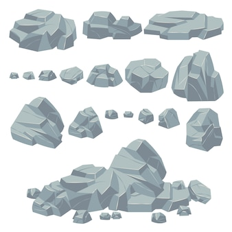 Rock stones. natural stone rocks, massive boulders. granite cobble cliff and stone heap for mountain landscape. cartoon vector set