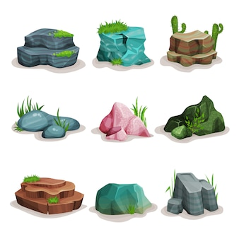 Rock stones set, boulders with grass, design element of natural landscape illustrations on a white background