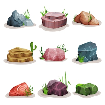 Rock stones set, colorful boulders with grass, design element of natural landscape illustrations on a white background
