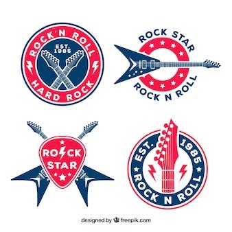 Коллекция логотипов rock с плоским дизайном