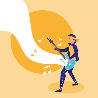 Rocker man playing electric guitar