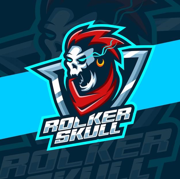 Рокер череп талисман киберспорт дизайн логотипа