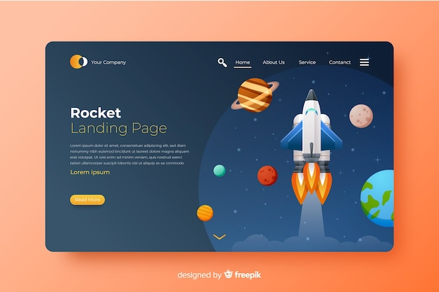 Rocket among planets landing page