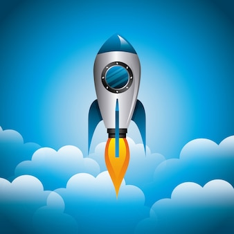 Rocket and cloud icon