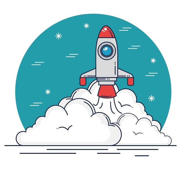 ロケットと雲のデザイン