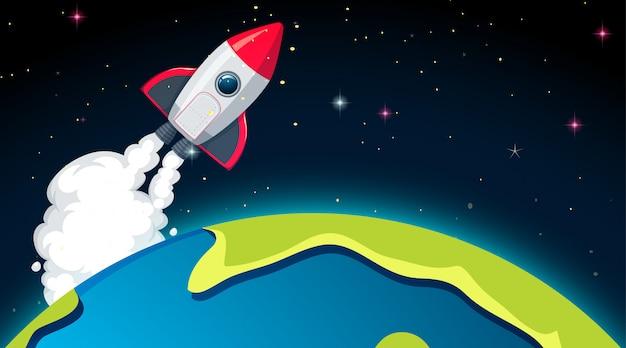 로켓과 지구 장면 또는 배경