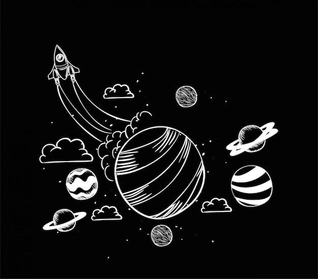 Ракета и планета рисуют
