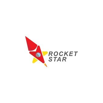 Ракетный и звездный логотип. значок шаблона