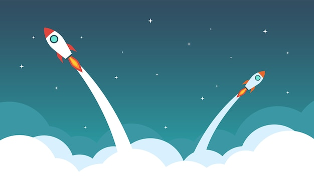 Rocket are flying on the sky.
