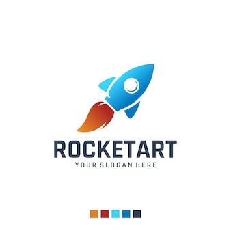 Rocket art brush logo design inspiration