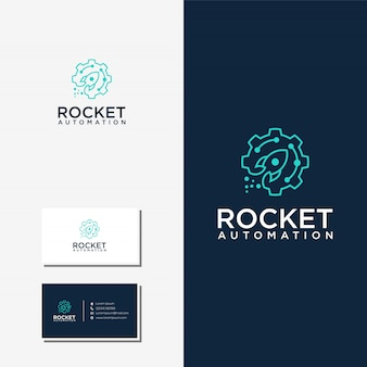 Rocket automation technology logo and business card premium vector