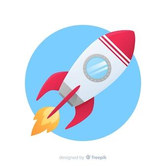 フラットスタイルのロケットの背景