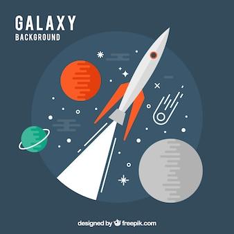 Sfondo rocket e pianeti in progettazione piatta