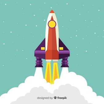 Rocket background with steam