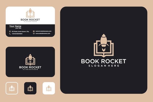 Ракетная книга дизайн логотипа и визитная карточка
