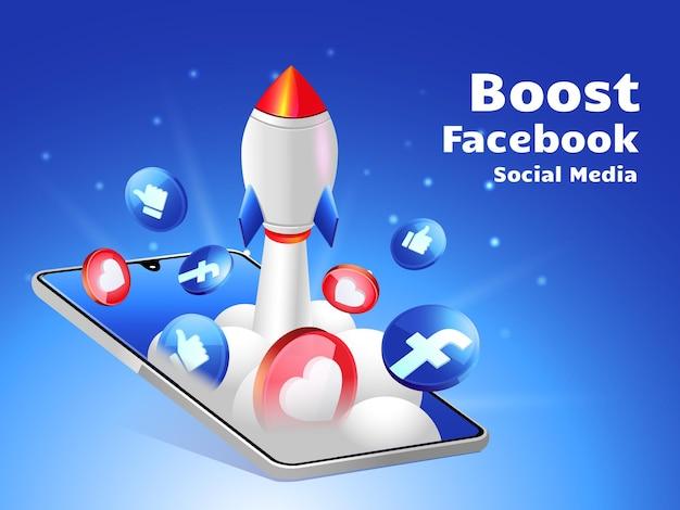Rocket boosting social media facebook with smartphone