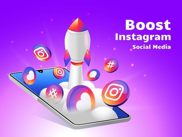 Rocket boosting social media instagram with smartphone