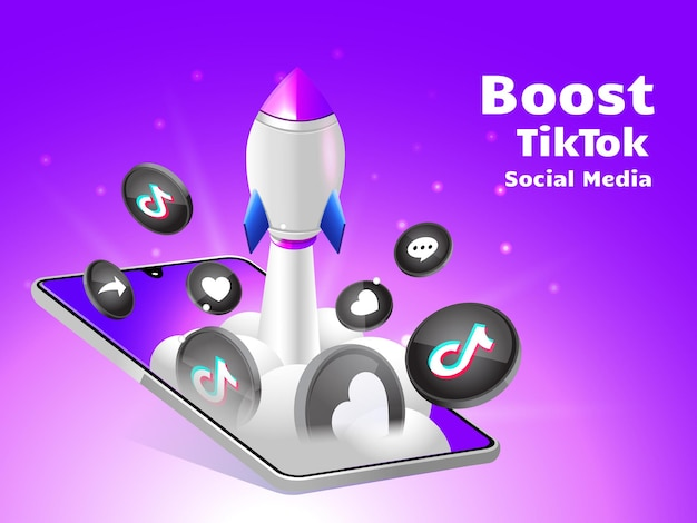 Rocket boosting social media tiktok with smartphone