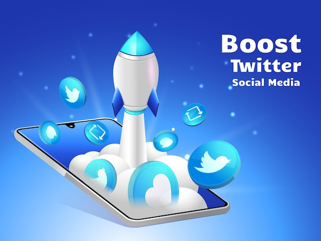 Rocket boosting social media twitte with smartphone