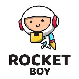 Rocket boy cute logo