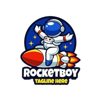 Rocket boy esport mascot cartoon logo vector template