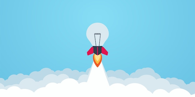 Rocket bulb launch in the sky flying. business concept. simple modern cartoon design in flat style