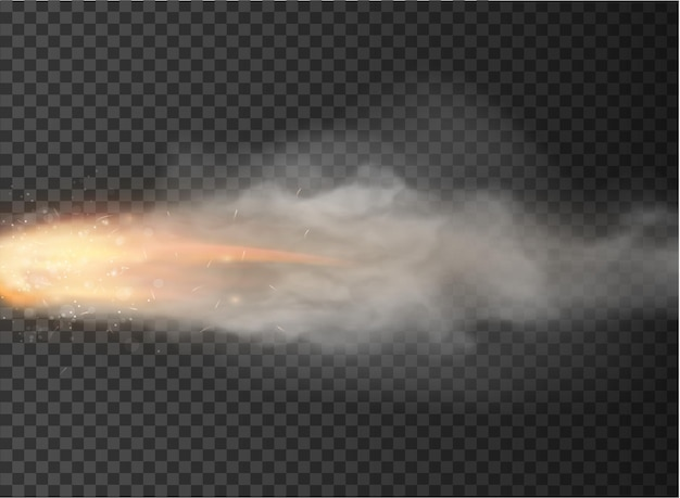 Rocket, bullet trail smoke isolated on transparent background.
