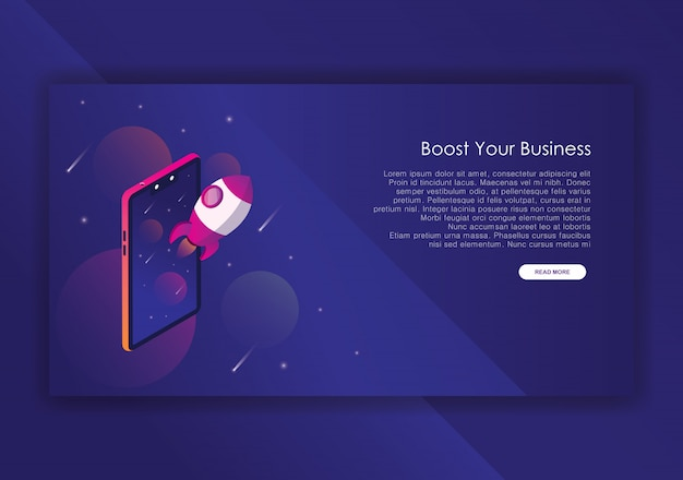 Rocket business isometric design  template