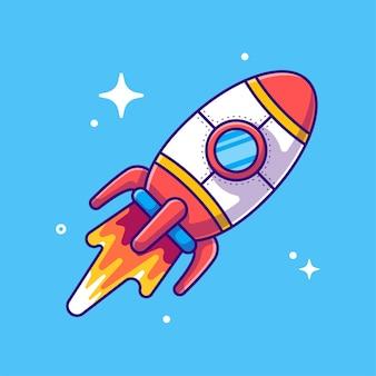 Rocket  cartoon illustration.