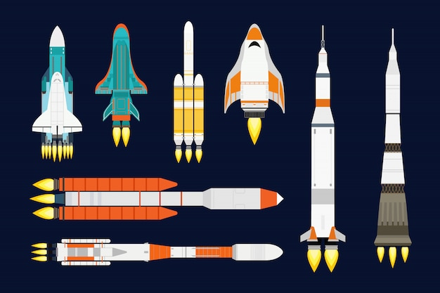 Rocket cartoon set