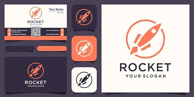 로켓은 핀 위치 로고 및 명함 디자인 벡터와 결합됩니다.